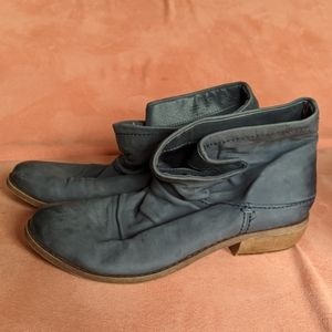 Fergie blue leather slouchy booties size 7